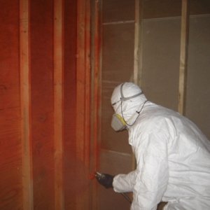 A mold removal technician uses a moisture meter on a basement wall.
